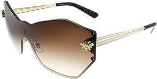 Versace Glam Medusa Shield VE 2182 125213 Pale Gold Metal Geometric Sunglasses Brown Gradient Lens