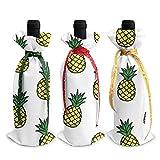3 bolsas de botella de vino, bolsas de Navidad con piña amarilla para bodas, regalos de fiesta, suministros de Navidad, vacaciones y vino.