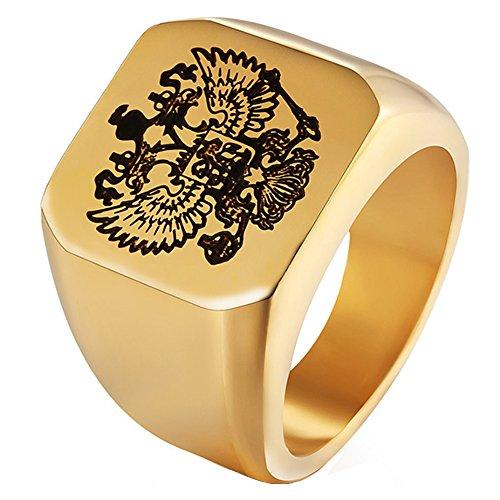 LILILEO joyería 316L Acero Inoxidable Oro Ruso Insignia Rusia Bandera Nacional Macho Anillo Double-Headed Eagle Logo Anillo para Unisex Anillos joyería