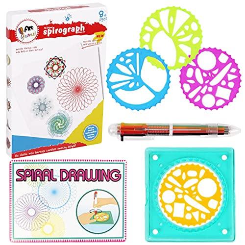 Regla Espiral para Niños Duradera Juego Regla Dibujo Juego Dibujo Espiral Regla Espiral Plástico Geométrico Dibujo Espiral Juguete Educativo Dibujo Regla para Principiantes Regalo para Niños conjunto