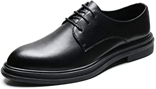 Bin Zhang Classic Business Oxfords for Men Big Size Leisure Shoes Genuine Leather Lace up Pointed Toe Burnished Style Waxed Laces Block Heels (Color : Black, Size : 5 UK)