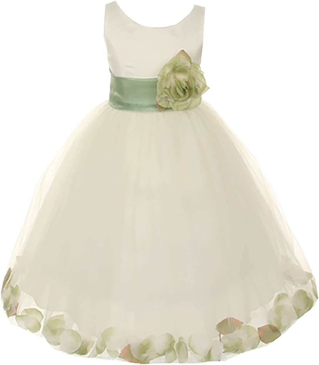 Cinderella Couture Little Girls' Ivory Tulle Petal Flower Girl Pageant Dress