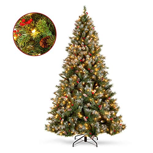 Christmas Decor 9ft Pre-Lit Christmas Pine Tree w/Pine Cones, Flocked Branch Tips