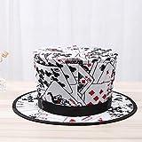 Trucos de Magia Plegable Sombrero de Copa Primavera Negro Negro Patrón de Tarjeta apareciendo/Objetos de Fuga Hat Toys for niños Etapa Accesorios (Color : White)