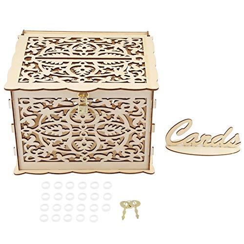 Caja de madera para tarjetas de boda Caja de tarjetas de boda con llaves Caja de regalo de dinero de boda para bricolaje Rústica con llave de bloqueo y anillos de goma para fiesta de cumpleaños Boda D