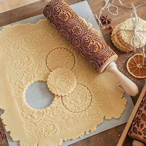 Rodillo de madera en relieve, madera natural tallada grabada con patrón de flores de copo de nieve de Navidad para hornear galletas en relieve, bonita herramienta de cocina para niños y adultos
