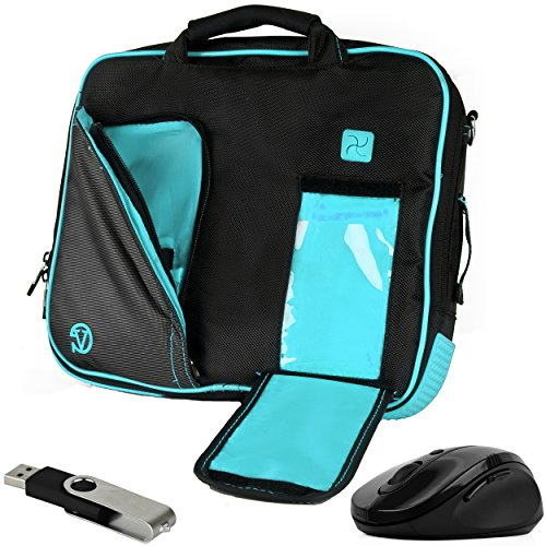 VanGoddy Aqua Blue Messenger Bag w/USB Flash Drive and Mouse for Lenovo Flex 4 1130 / Yoga 710 / IdeaPad 110s 120s / Tab4 10 Plus/ThinkPad X1 Tablet / N23 ChromeBook / 11.6inch