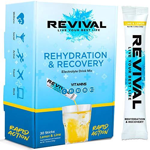 Revival Rapid Rehydration Electrolytes Powder - High Strength Vitamin C, B1, B3, B5, B12 Supplement Sachet Drink, Effervescent Electrolyte Hydration Tablets - 30 Pack Lemon Lime