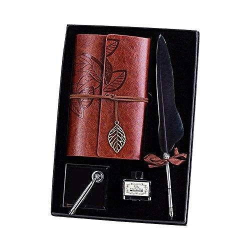 AOLVO Kalligraphie-Stift-Set Quil Pen Dip Feather Füllfederhalter Luxus Antik Stifte-Set mit Halter, Box inklusive Federstift, Notizbuch, Stifthalter, Flaschentinte Marineblau