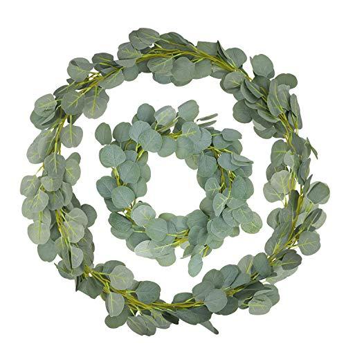 Sinwind eukalyptus künstlich, 2 Stück Eukalyptus Girlande Künstlich Pflanze, Eukalyptus Blätter Deko Girlande Hochzeit für zu Hause Küchen Garten Büro Hochzeit oder als Wanddekoration