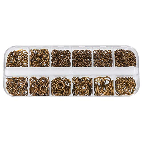 PH PandaHall 730 Pcs 6 Sizes Brass Open Jump Rings, 4mm 5mm 6mm 7mm 8mm 10mm Unsoldered for Earring Bracelet Necklace Jewelry DIY Craft Making, Antique Bronze