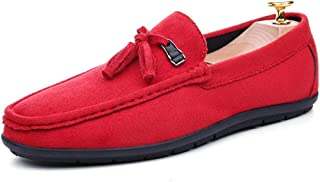 Rui Landed Tassels Driving Loafer for Men Soft Casual Boat Shoes Moccasins Slip On Style Faux Suede Leather Round Toe Flat Heel Durable (Color : Red, Size : 42 EU)