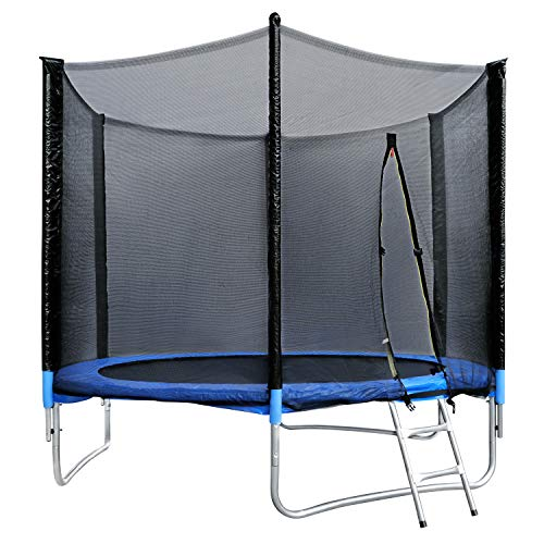 HomeMiYN 10ft Trampoline with Safety Enclosure, Ladder, Thick Cover Padding for Outdoor Kids & Adults Trampolines