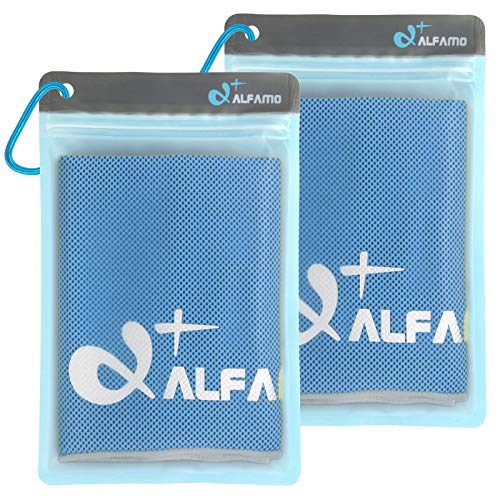 Alfamo Cooling Towels for Neck 2 Pack (Blue/Gray, M), Cold Towel, Microfiber Towel, Cooling Bandanas Soft Breathable Chilly Towel for Yoga Sport Gym Fitness Running Workout Camping & More Activities