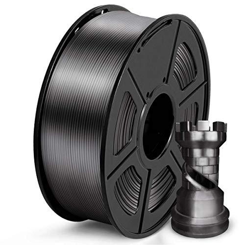 SUNLU PLA Filamento 1.75mm Silk Grigio nero, Stampante 3D Filament PLA 1kg Spool, Tolleranza del diametro +/- 0,02 mm PLA Silk Grigio nero