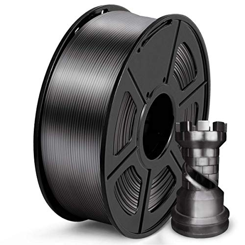 SUNLU PLA Silk Filament 1.75mm, 3D Drucker Filament 1.75 PLA 1KG Spool, PLA Silk Schwarzgrau