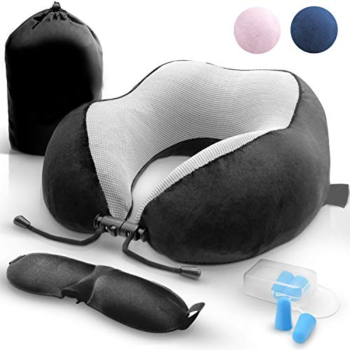 Achtzig Nackenhörnchen, Orthopädisches Nackenkissen, Schlafen Memory Foam für Flugzeug Bus Zug, mit Schlafmasken, und Tragetasche Reisekissen (Black)
