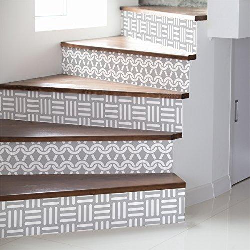 Ambiance-Live col-stairs-ROS-B057_15x105cm_6bandes Stickers Adhesivos Escalera carrelages, Vinilo, Multicolor, 6 bandes de 15x105 cm