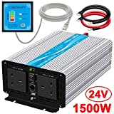 CARRYBATT 1500W Pure Sine Wave Power Inverter DC 24V to AC 230V 240V Converter With Remote Control, dual AC outlets,Dual cooling fans &1 USB Port for RV Truck Car