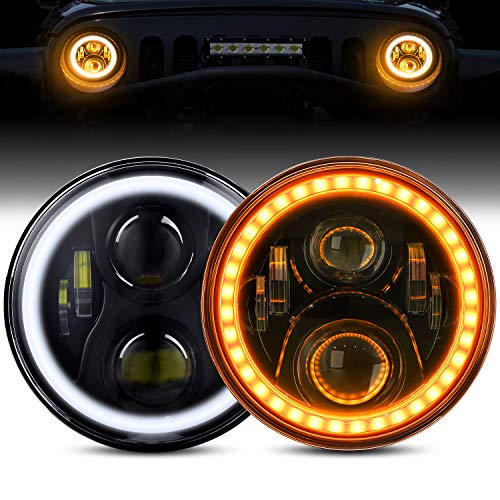 LED Headlights with Halo BEEYEO 7 Inch LED Headlights 60W Round Headlamp with Daytime Running Light DRL Turn Signal High Low Beam for Wrangler JK TJ LJ CJ with H4 H13 Adapter, 2PCS