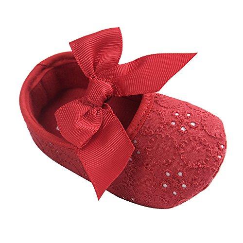 LACOFIA Zapatos de Bautizo con Suela Suave Antideslizante Princesa Arco de bebé niñas Rojo 0-3 Meses