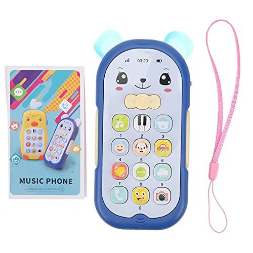 Teléfono de juguete para bebés Teléfono de simulación Teléfono móvil para niños Juguete de teléfono educativo temprano con música Efecto de luz de sonido para niños y niños pequeños(Azul)