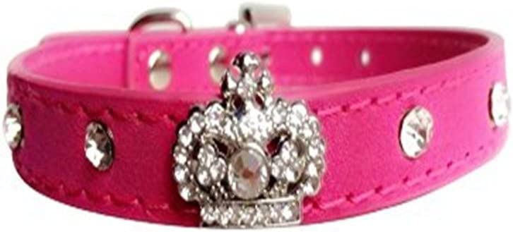 Benala Rhinestone Dog Easy-to-use Cat Collar Leather Max 76% OFF Soft Pupp Studded Crown