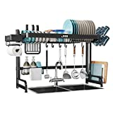 """LIVOD Over The Sink Dish Drying Rack Adjustable,Expandable Large Dish Rack and Drainboard Set,Stainless Steel Kitchen Sink Organizer Shelf (24.4""""-36.6"""") with Utensil and Paper Towel Holder (Black)"""