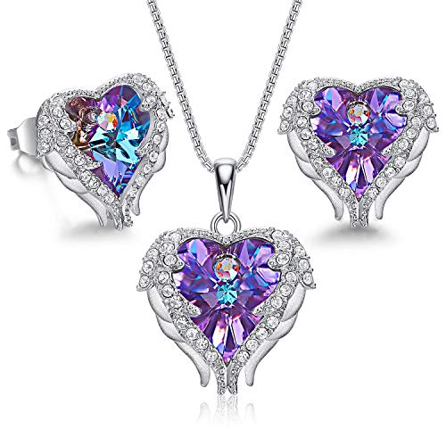 CDE Sterling Silver Jewelry Sets for Women Heart Necklaces and Earrings Crystals Purple Jewel Mothers Day Jewelry for Women Mom
