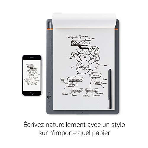 Wacom K100876 Bamboo Slate Digital Notepad A5 (Half Letter Size), Small Smart Notebook with Digitisation Technology Including Stylus with Ballpoint Pen, Compatible with Android and Apple, Grey/Orange