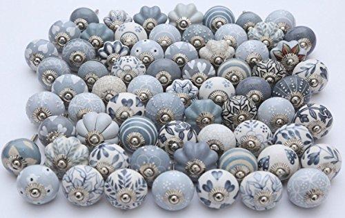 Set di 25pezzi grigio & bianco crema dipinte a mano pomelli in ceramica cassetto Pull tira