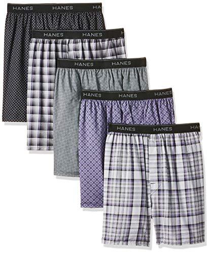 Hanes Herren Boxershorts, Bedruckt, gewebt, ausgesetzter Bund, 5er-Pack (Sortiert) - Mehrfarbig - X-Large