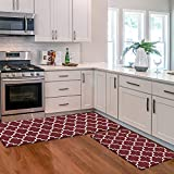 KMAT Kitchen Mat [2 PCS] Cushioned Anti-Fatigue Kitchen Rug, Waterproof Non-Slip Kitchen Mats and Rugs Heavy Duty PVC Ergonomic Comfort Standing Foam Mat for Kitchen, Office, Sink, Laundry,Red