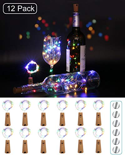[12 pack] flesverlichting, kolpop kurkverlichting voor wijnflessen, 2m 20 LED koperdraad kerstverlichting voor feestjes, bruiloft, kerst DIY binnen/buiten decoratie (meerdere kleuren)