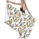 Yuanmeiju 32 X 52 Inch High Absorbency Bath Towel Birds Animal Tree Lightweight Large Bath Sheet for Beach Home SPA Pool Gym Travel