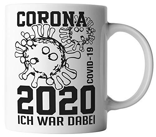 vanVerden Tasse - Corona-Virus 2020 Ich war dabei. COVID-19 - beidseitig Bedruckt - Geschenk Idee Kaffeetassen mit Spruch, Tassenfarbe:Weiß