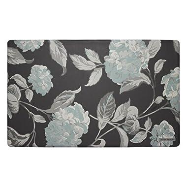 Laura Ashley Anti-Fatigue Comfort 20  x 32  Kitchen Mat, Hydrangea, Duck Egg Blue/Grey
