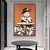 KWzEQ Gatito de la Lona del Arte de la Pared del Gato de la Moda, Traje con Capucha y Mural del Vestido, Cartel del Pasillo de la Sala de Estar,30X45cm,Pintura sin Marco