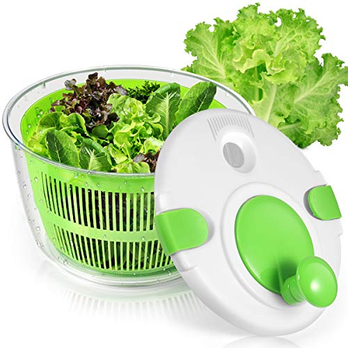 Salad Spinner, Lettuce Spinner With Lid Lock & Rotary Handle, Vegetable Washer Dryer Quick Dry off, Ease for Crispy Salads and Faster Food Prep