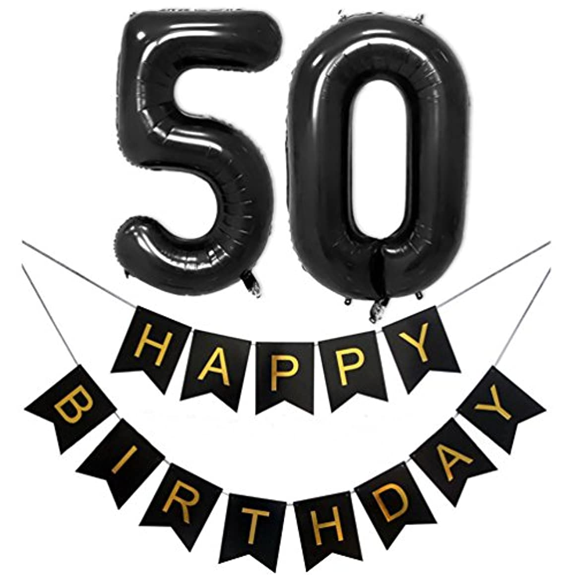 KEYYOOMY 40 in Number 50 Balloons Black with Happy Birthday Banner for 50 Birthday Party Decorations(Number Balloons 40 in, Letter Balloons 16 in, Black)