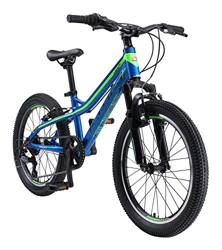 BIKESTAR Alu Mountainbike Jugendfahrrad 20 Zoll ab 6-9 Jahre Hardtail | 7 Gang Shimano Schaltung, V-Bremse, Federgabel | Kinder Fahrrad Blau Grün | Risikofrei Testen