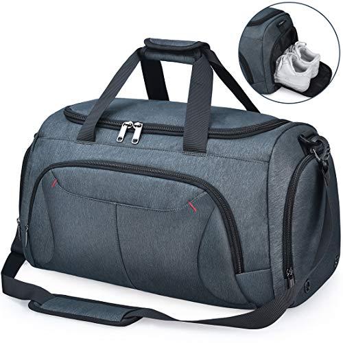 NUBILY Bolsa de Deporte Hombre Bolsas Gimnasio Mujer con Compartimento para Zapatos Bolsos de Viaje Grande Impermeable Deportivos Fin de Semana Travel Gym Bag 40L Gris Azul