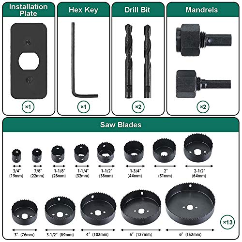 Hole Saw Set HYCHIKA 19 Pcs Hole Saw Kit with 13Pcs Saw Blades, 2 Mandrels, 2 Drill Bits, 1 Installation Plate, 1 Hex Key, Max Size 6