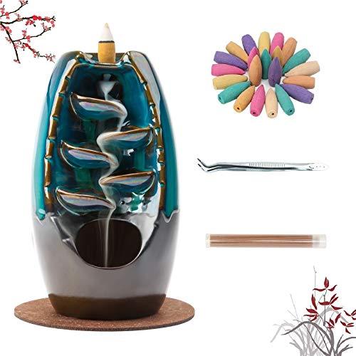 Famiry Ceramic Backflow Incense Burner, Waterfall Incense Burner Holder, with 120 Backflow Incense Cones, 30 Incense Sticks, 1 Mat, Aromatherapy Ornament Home Decor