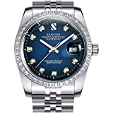 Gosasa Diamonds Men's Gold Stainless Steel Band Automatic Mechanical Watches (A- Men- Silver Blue)