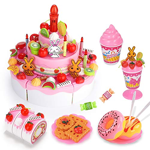 Product Image of the Temi Pretend Birthday Cake for Kids, DIY 99 PCS Decorating Party Play Food Toys...