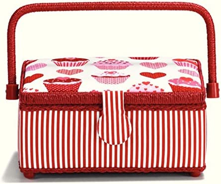 Prym Muffin Hearts Print Craft White Red Basket Max 48% OFF Pin New Shipping Free Storage