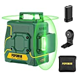POPOMAN Laser Level Green 2x360°, Line laser rechargeable with Lithium battery, Self Leveling, Pulsed mode, Magnetic Auxiliary Supporting Bracket, IP54, Carry bag Include - MTM340B