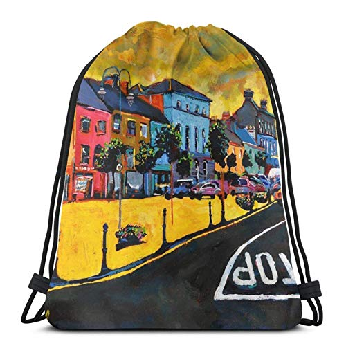 Listowel The Square Kerry, Ireland Drstring Backpack Gym Sack Pack Solid Cinch Pack Sinch Sack Sport String Bag