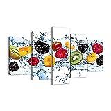 Quadro su tela - 5 Parties - Acqua frutta fresco cibo - 150x100cm...